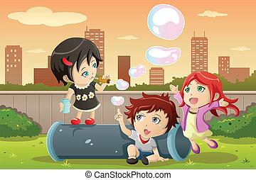bolle, bambini, gioco