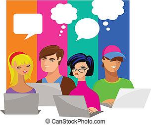 bolle, computer, discorso, giovani persone
