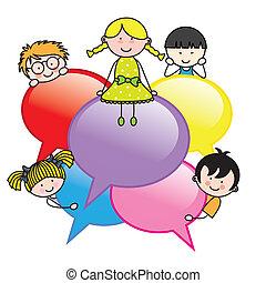 bolle, dialogo, bambini