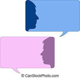 bolle, maschio, discorso, faccia femmina