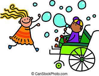 bolle, scarabocchiare, bambini, soffiando