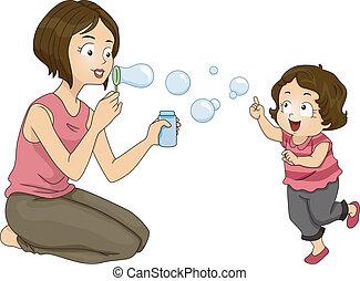 bolle, soffiando