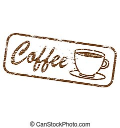 bollo gomma, caffè, rettangolare