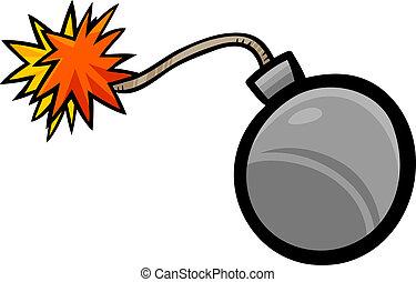 bomba, arte clip, cartone animato, illustrazione