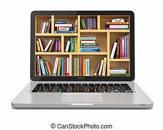 books., library., o, internet, e-imparando, educazione, laptop