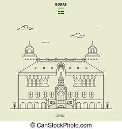 boras, sweden., punto di riferimento, municipio, icona