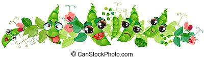 border., pisello verde, carino, cartone animato, emoji, verdura