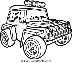 bordo, cartone animato, jeep.