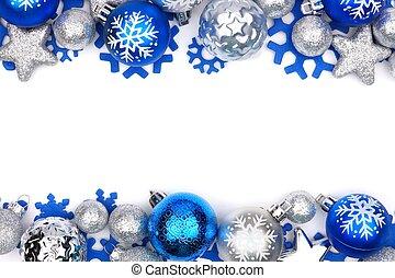 bordo, ornamento, sopra, natale, bianco, doppio, argento, blu
