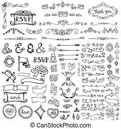 bordo, scarabocchiare, set, elemento, decorazione, frecce