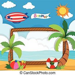 bordo, tema, disegno, estate