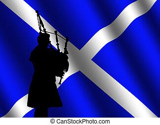 borsa, bandiera, zampognaro, scozzese