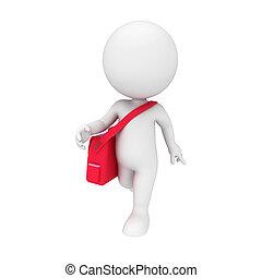 borsa, bianco, 3d, persone ufficio