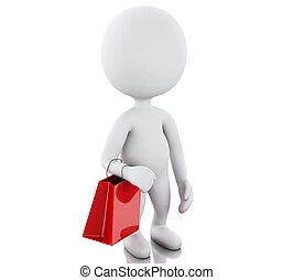 borsa, bianco, 3d, shopping, persone