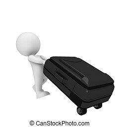 borsa, bianco, 3d, viaggiare, persone