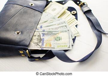 borsa, bianco, fondo., soldi
