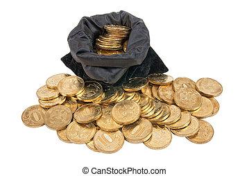 borsa, bianco, monete, fondo, oro