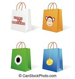 borsa, carta, esso, illustrazione