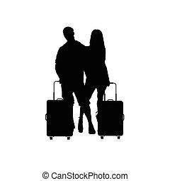 borsa, coppia, viaggiare, illustrazione