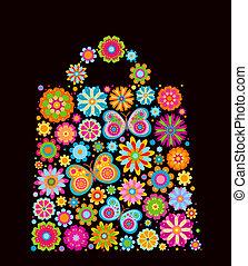 borsa, forma, fiori