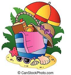 borsa, ombrello spiaggia, cartone animato