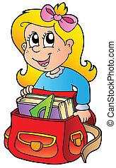 borsa, ragazza, cartone animato, scuola
