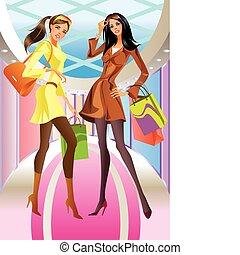 borsa, ragazza, moda, shopping, due