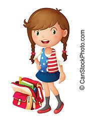 borsa, ragazza, scuola
