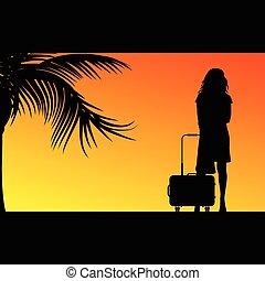 borsa, ragazza, viaggiare, illustrazione