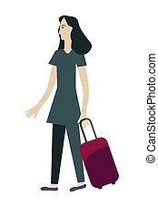borsa, ragazza, viaggiare