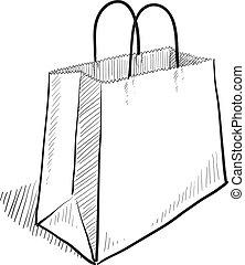 borsa, schizzo, shopping