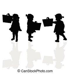 borsa, silhouette, illustrazione, bambino