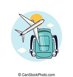 borsa, viaggiare, aeroplano, apparecchiatura