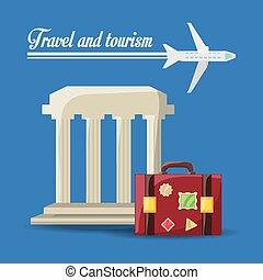 borsa, viaggiare, aeroplano, architettura, bellezza