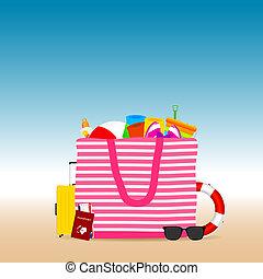 borsa, viaggiare, bech, illustrazione, icona