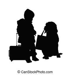 borsa, viaggiare, cane, illustrazione, bambino