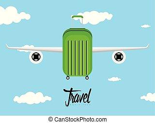 borsa, viaggiare, icona, aeroplano, ali