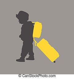 borsa, viaggiare, illustrazione, bambino