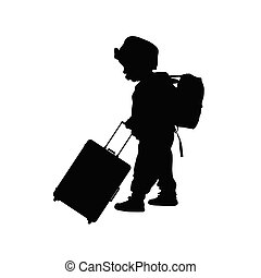 borsa, viaggiare, nero, illustrazione, bambino