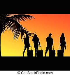 borsa, viaggiare, ragazza, illustrazione, uomo