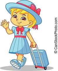 borsa, viaggiare, ragazza, viaggiare, lei