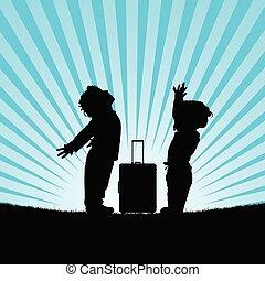 borsa, viaggiare, silhouette, bambini, illustrazione