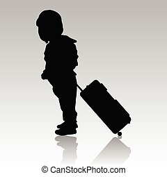 borsa, viaggiare, silhouette, illustrazione, bambino