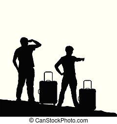 borsa, viaggiare, silhouette, illustrazione, uomo