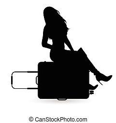 borsa, viaggiare, silhouette, ragazza, illustrazione