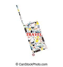 borsa, viaggiare, vettore, simbolo, illustrazione