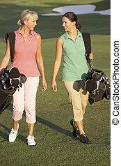 borse, camminare, golf, due, corso, portante, lungo, donne