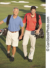 borse, camminare, golf, uomini, due, corso, portante, lungo