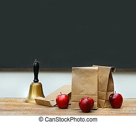 borse, campana scuola, pranzo, mele, scrivania