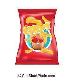 borse, carattere, pacchetto, divertente, patatine fritte, fondo, illustrazione, bianco, 3d, disegno, vettore, isolato, patata, lamina